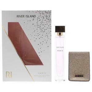 River Island Paris 2 Piece Gift Set: Eau De Toilette 75ml -  Compact Mirror