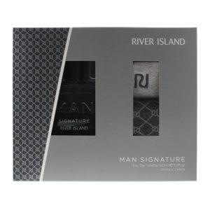 River Island Man Signature 3 Piece Gift Set: Eau De Toilette 100ml - 2 Pairs of Socks