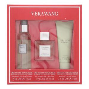 Vera Wang Embrace 3 Piece Set - Green Tea and Pear Blossom Eau De Toilette 30ml - Fragrance Mist 118ml -  Body Lotion 75ml