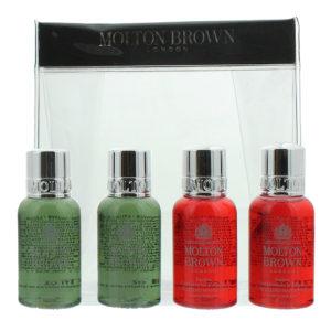 Molton Brown 4 Piece Gift Set: 2 x Festive Frankincense & Allspice Hand Wash 30ml - 2 x Fabled Juniper Berries & Lapp Pine Body Wash 30ml