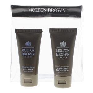 Molton Brown 2 Piece Gift Set: Coco Sandalwood Body Lotion 30ml - White Sandalwood Body Wash 30ml