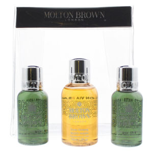 Molton Brown 3 Piece Gift Set: Suma Ginseng Body Wash 50ml - 2 x Fabled Juniper & Lapp Pine Body Wash 30ml