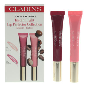 Clarins Instant Light Lip Perfector Duo: 01 Rose Shimmer 12ml - 08 Plum Shimmer 12ml