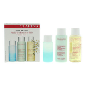 Clarins 3 Piece Gift Set: Eye Make-Up Remover 30ml - Cleansing Milk 50ml -  Toning Lotion 50ml for Normal to Dry Skin