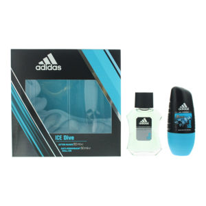 Adidas Ice Dive 2 Piece Gift Set: Aftershave 50ml - Deodorant Roll-On 50ml